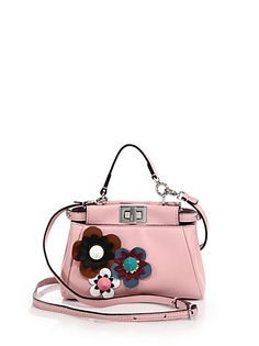 Fendi - Peekaboo Micro Flower-Embellished Leather Satchel