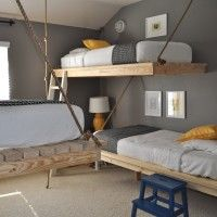 Bedroom. unstained wooden floating bed frame with wire hanging system using white bed linen in gray painted bedroom wall. The Most Unique Bed Frames For Bedroom Furniture Design