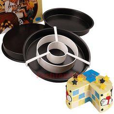 3PCS Non-Stick Cake Baking Pan Divider Tray Checkerboard Bakeware Round Mold Set