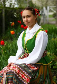 A Lithuanian girl in traditional dress
