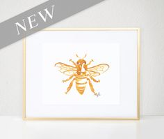 Bee Print, Gold Bug Illustration - Fashion Wall Art Watercolor Painting, Worker…