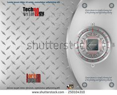 Processor Chip on circular metallic device nailed with screws to steel board and scratched metallic background. Technology Background, Abstract Images, Lorem Ipsum, Vectors, Royalty Free Stock Photos, Metallic, Illustrations, Steel, Board