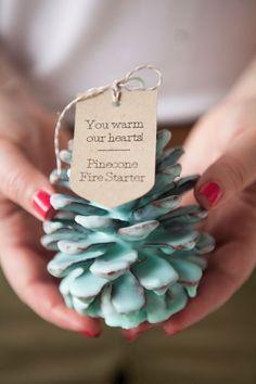 Pinecone fire starter wedding favor #wedding #favors #weddingfavors