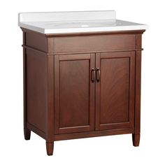 Ashburn 31 in. W x 22 in. D Vanity in Mahogany with Vanity Top in White-ASGAW3122 at The Home Depot $677