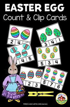 Develop counting and number recognition skills with these fun and engaging Easter egg count and clip cards. Perfect for your Easter, spring, or math centers! Easter Activities For Preschool, Easter Crafts For Kids, Kindergarten, Math Activities, Preschool Activities, April Preschool, Numbers Preschool, Easter Colors, Little Learners