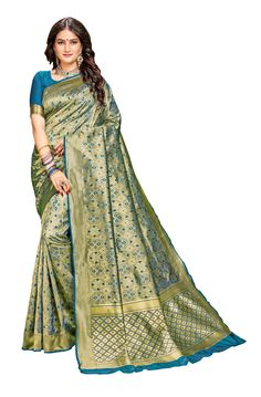 Sweetiepie Fashion Women's Banarasi silk woven saree with Blouse Piece Multicolor) Religious Ceremony, Sarees, Celebrations, Traditional, Silk, Formal, Blouse, Womens Fashion, Casual
