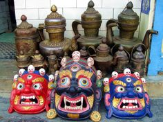 ulti-colored Mahakala Masks at a Vendor in Nepal