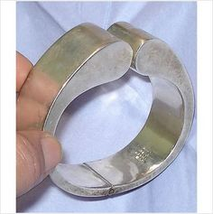 Modernist DULCE Mexican SIGNED Sterling Silver LARGE CLAMPER BANGLE VTG BRACELET Listing in the Silver (No Stones),Bracelets,Fine Jewellery,Jewellery & Watches Category on eBid Canada