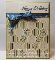 Stamps Well With Others: Honeycomb Birthday - Looks like a quilt card with the patterned papers placed in this order. SU's honeycomb EF.