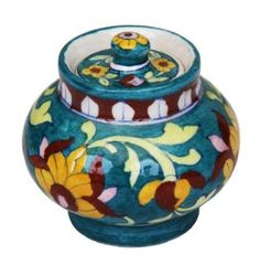 Handpainted Floral Jam Pickle or Spice Jar Famous Jaipur Blue Pottery Gift Ideas