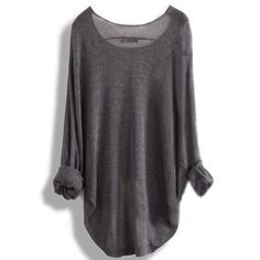 Gray Loose Batwing Sleeve Irregular Sweater