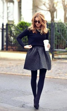Puffy skirt thin sweater and tights fall outfit.