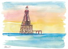 """Saatchi Art is pleased to offer the painting, """"Iconic Lighthouse Marathon Florida Keys,"""" by M Bleichner, available for purchase at $369 USD. Original Painting: Watercolor on Paper. Size is 7.9 H x 11.8 W x 0 in. Seascape Paintings, Watercolor Paintings, Marathon Florida Keys, Original Paintings For Sale, Original Artwork, Impressionism Art, Cool Artwork, Travel Posters, Lighthouse"""