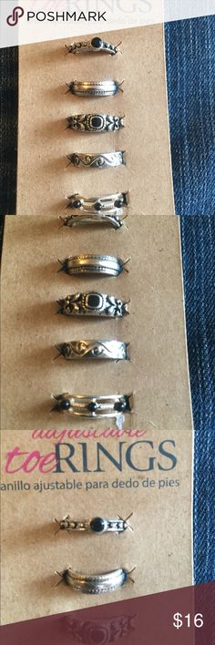 5 Adjustable Toe Rings NWT pretty 5 Adjustable Toe Rings. Jewelry Rings