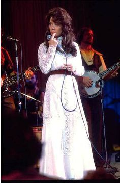 """Loretta Lynn was on the radio when I was a little girl. From Coal Miners Daughter: """"Patsy (Cline) said, 'Girl, you gotta run your life.' But right now it feels like my life's runnin' me. Classic Country Artists, The Daughter Movie, Sissy Spacek, Patsy Cline, Blue Ball Gowns, Country Music Stars, Country Singers, Loretta Lynn, Old Movie Stars"""