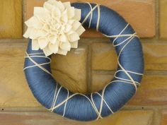 Blue Yarn Wreath with Large White Dahlia. $27.00, via Etsy.
