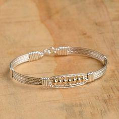 Ronaldo Bracelet Wide Prayer Bracelet Silver with Gold
