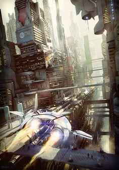 Sci-Fi City Canyon by Stefan Morrell