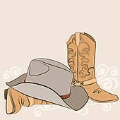Cowboy Boot Clip Art   Cowboy boots and hat for design.American western clothes - clipart ...
