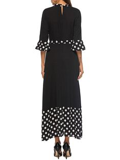 Polka Dot Panel Maxi Choker Dress #Ad , #AD, #Panel, #Dot, #Polka, #Dress, #Choker Choker Dress, White Dresses For Women, Short Sleeve Dresses, Dresses With Sleeves, Winter Dress Outfits, Panel Dress, Lingerie Dress, Flare Dress, Casual Dresses