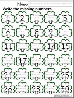 Write the missing numbers from 1 to 30 on the shamrocks. Patrick's Day math. Patrick's Day Write the Missing Numbers to 30 - Madebyteachers Preschool Math, Kindergarten Classroom, Math Activities, Preschool Ideas, Classroom Ideas, St Patricks Day Crafts For Kids, St Patrick Day Activities, Writing Numbers, Learning Numbers