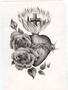 realistic sacred heart drawing - Google Search