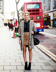 Black top + leopard print skirt + leopard coat + ankle boots