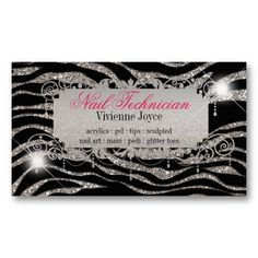 Sparkle Shine Zebra Business Cards