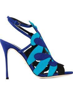 Blaue Sandalen mit Stiletto-Absatz aus Leder von Sergio Rossi.
