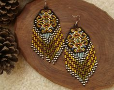 High Plains..Beaded Fringe Earrings Native American Inspired