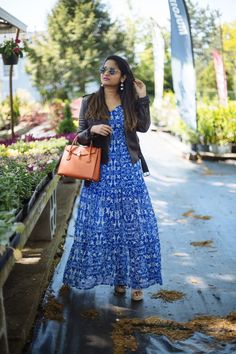 Sharing favorite maxi dresses under $40 | dreamingloud.com **************** printed maxi dress, spring style, summer style, Michael kors mercer all in one bag, Xhilaration dress, maxi dress with leather jacket, frye wedges, faux Moto leather jacket