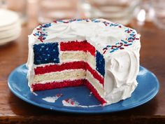 Red, White and Blue Layered Flag Cake Recipe: love that they put star shaped sprinkles in the blue layer