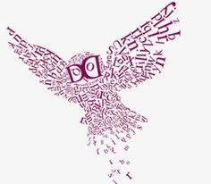 Image of owl made up of letters