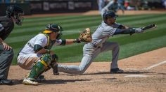Jed Lowrie added two hits and scored the game-winning run for Oakland while first baseman Yonder Alonso singled, scored and made a diving catch to end a threat in the seventh and strand the potential tying and go-ahead runs in scoring position.