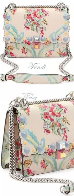 Brilliant Luxury♦️Fendi Candy Colours Spring 2017♦️Kan I Mini Aubusson-Print Chain Shoulder Bag