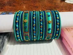 Silk Thread Bangles Design, Silk Bangles, Silk Thread Earrings, Bridal Bangles, Thread Jewellery, Indian Bangles, Indian Jewelry, Vaddanam Designs, Designer Bangles