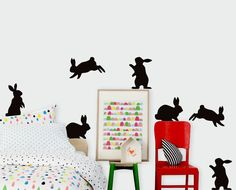 Rabbit Silhouette Wall Sticker Pack | Hippo Blue