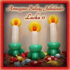Artmagines Ballong-Julkalender Lucka 11: Tänd tre ballong-ljus och låt dem brinna, låt aldrig hoppet försvinna. Vi gör en ny ballong-kreation varje dag fram till jul!