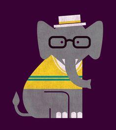 Rodney the preppy elephant by Budi Satria Kwan | Society6