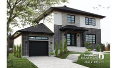Discover the plan - Altair 2 from the Drummond House Plans house collection. Two-story contemporary home plan with garage, open dining and living concept with central fireplace, 3 beds. Total living area of 1700 sqft. House Plans 3 Bedroom, Garage House Plans, Cottage House Plans, Best House Plans, Cottage Homes, Car Garage, Contemporary Cottage, Contemporary House Plans, Modern Cottage