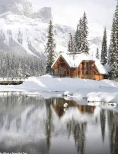 12 Beautiful Pictures on Incredible Places, Emerald Lake Lodge in Canadian Rocky Mountain (I would love to be in this cabin in the winter! Cabin In The Woods, Cabins In The Snow, Emerald Lake, Log Homes, Belle Photo, The Places Youll Go, The Great Outdoors, The Good Place, Perfect Place