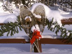outdoor christmas - vintage snowshoes
