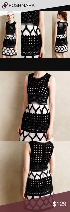 Anthropologie Baraschi Rona Basketweave Dress This dress has tons of texture with different black and white basketweave patterns throughout. White slip underneath. Baraschi brand for Anthropologie. In perfect condition. True to size. Anthropologie Dresses Mini