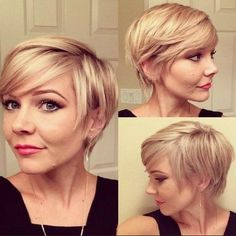 Chic casual short hairstyle with side swept bangs