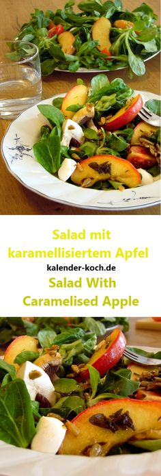 Salat schnell und lecker mit karamellisiertem Apfeln, genau das Richtige wenn du besonderes Essen magst. Ein hervorragende Verbindung für herzhaft und süß.