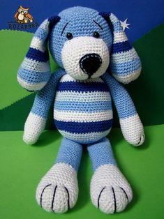 návod na háčkovaného psíka (cca 34cm) / Zboží prodejce rozarrka   Fler.cz Knitting Stitches, Baby Knitting, Crochet Dolls, Knit Crochet, Crochet Unicorn, Cute Little Things, Baby Toys, Crochet Projects, Diy And Crafts
