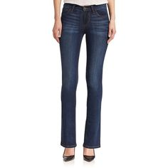 Joe's The Provocateur Petite Bootcut Jeans ($195) ❤ liked on Polyvore featuring jeans, aimi, apparel & accessories, zipper jeans, blue jeans, boot-cut jeans, petite blue jeans and frayed jeans