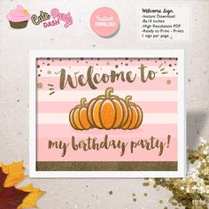 INSTANT DOWNLOAD  Pink and Gold Little Pumpkin by CutePartyDash