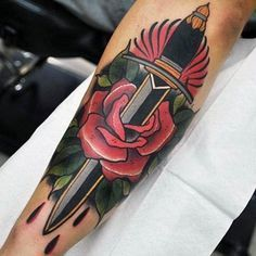 Dagger Piercing Rose Neo Traditional Tattoo Male Forearms