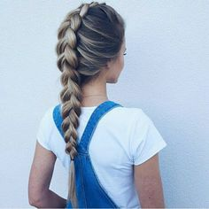 hair style | dutch braid, chunky thick braid, brunette ombré